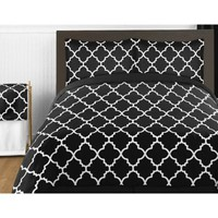 Sweet Jojo Designs Trellis Comforter Set in Black and White