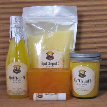Hufflepuff Harry Potter Themed Gift Sets - Bath Salt, Soy Candle, Soap, Lip Balm and Bubble Bath
