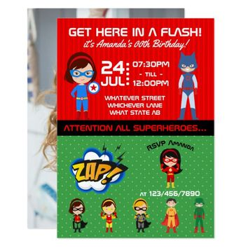 Superhero Themed Birthday Party photo Invitation