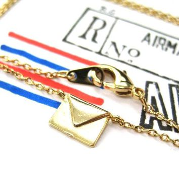 Miniature Envelope Letter Charm Necklace in Gold | DOTOLY