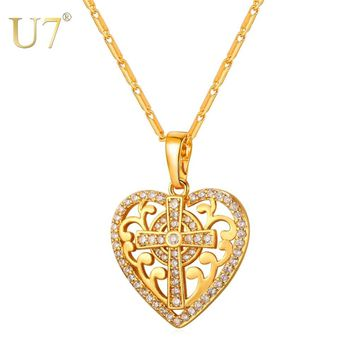 U7 Baroque Love Heart Pendant Necklace European Style Cubic Zirconia Gold Color Women Christian Jewelry Gift Luxury Cross P1179