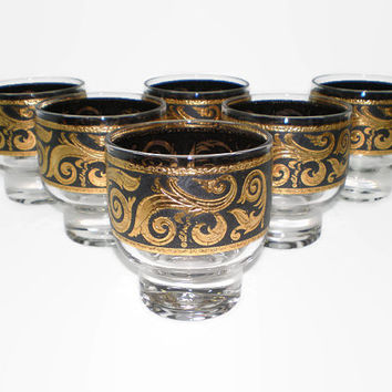 6 Culver LTD Ebony Baroque Stockholm Glasses, Eva Zeisel Glass, Black 22 Karat Gold Glassware