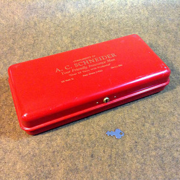Vintage Red Metal Security Insurance Papers Boxwith Key - industrial quality, Made by P N Company - Fulton, Illinois
