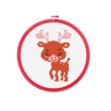Baby Animal - Deer , Tiny Cross Stitch, PDF Pattern, beginner cross stitch, No.121