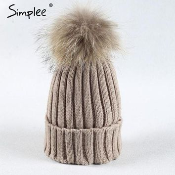 DCCKU62 Simplee Removable real fur pompon Bobble hats for women skullies beanies Warm stocking hat 2016 autumn cap winter hat female