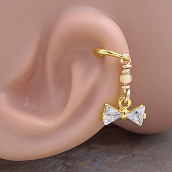 Crystal Bow Gold Cartilage Hoop Earring Tragus Helix Piercing