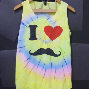 Red heart tank top mustache tie dyed shirt sleeveless top/ hot color unique shirt women t shirts/ teen girls clothing size L large tee