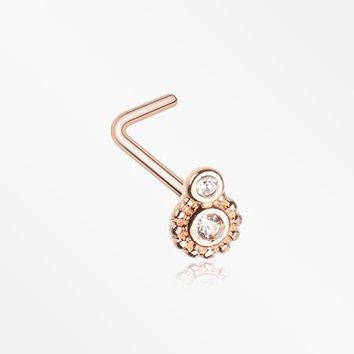 Rose Gold Steampunk Sparkle Gear L-Shaped Nose Ring