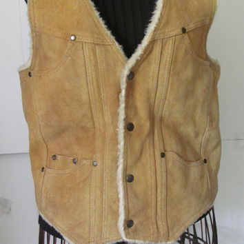 60s Festival clothing Sherpa Lined Suede Vest sz L 1960s Leather Vest Jacket Bohemian Hippie Jacket Festival Clothing Genuine Leather 1960s