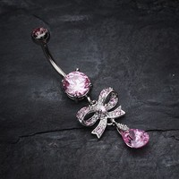 Romantic Gem Bow Tie Belly Button Ring