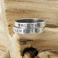 Personalized Stack Ring - Namaste Breathe- Yoga - Sterling Silver Stackable Rings - Hand Stamped -Names Words Mantras- Christina Guenther