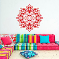 Wall Decal Mandala Sticker Yoga Lotus Flower Decals Indian Decor Wall Art Bedroom Dorm Yoga Studio Bohemian Home Decor Interior Design C100