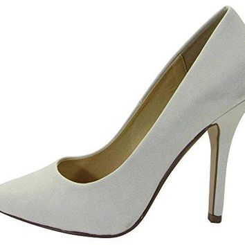 Cambridge Select Womens Classic SlipOn Closed Pointed Toe Stiletto High Heel Pump