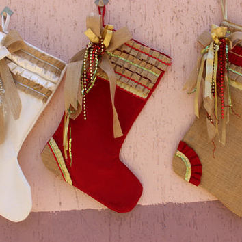 Shabby Chic Stocking Set Burlap Christmas Stocking Set Gold Christmas Stocking EXPRESS SHIPPING BuY 3 GET 1 FREe