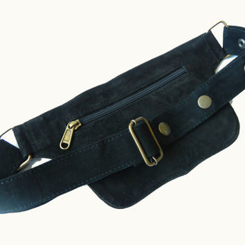 Unisex Leather Utility Belt | Black Suede, 2 Pocket | travel, burning man, festival, hands-free style | flask holder