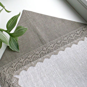 Delightful Dresser Scarf Linen And Lace Table Runner Natural Linen Grey And Cream  Christmas Table Centerpiece Table