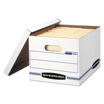 Bankers Box FEL-00703 STOR/FILE Storage Box, Letter/Legal, Lift-off Lid, White/Blue, 12/Carton-1 count