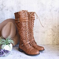 tall lace up combat boot - tan