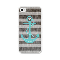 Striped Anchor Apple iPhone 4 Case - Plastic iPhone 4s Case - Wood Nautical iPhone Case Skin - Turquoise Blue Brown White Cell Phone