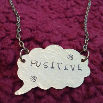 Positive word necklace hand stamped talking bubble