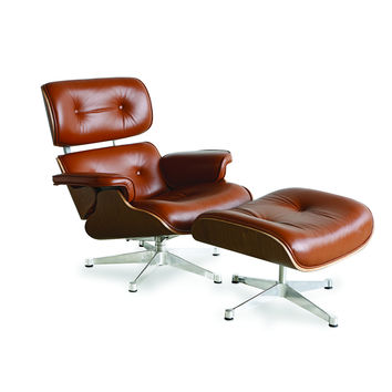 EAMES Style Lounge Chair - Aniline Leather