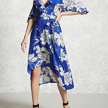 Blue Ruffle Cold Shoulder V-Neck Overlap High Low Dress