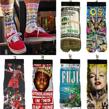 New brand hip hop men women socks 3d printed 2pac emoji hemp Marilyn Monroe Dollars Unisex Cotton socks 21 style Free shipping