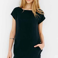 Cooperative Side-Button Woven Tee Dress- Black