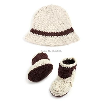 Newborn Baby Cowboy Crochet Costume Knitted Costume Hat+Shoes Photography Props -B116