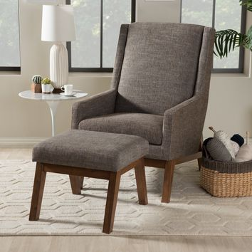 Baxton Studio Aberdeen Mid-Century Modern Walnut Wood Finishing and Gravel Fabric Upholstered Lounge Chair and Ottoman Set Set of 1