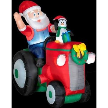 SheilaShrubs.com: Animated Santa with Penguin on Tractor 86207 by Gemmy Industries: Christmas Outdoor Decor
