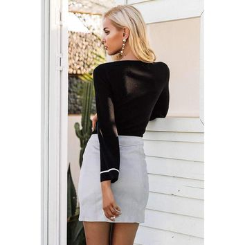 Sexy Suede Pencil Mini Skirt