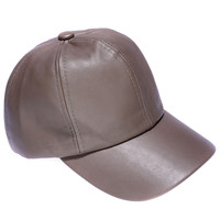 Faux Leather Cap - Taupe