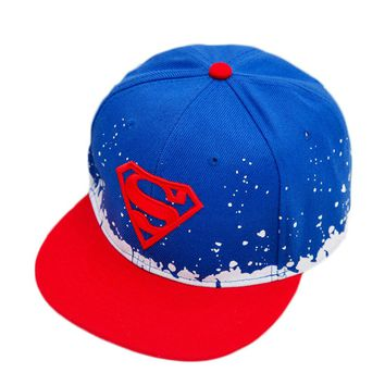 Fashion Superman The Boys Cap Hip-hop Cap Snap back Hat  3-10 Years Old Boys And Girls Flat-brimmed Hat