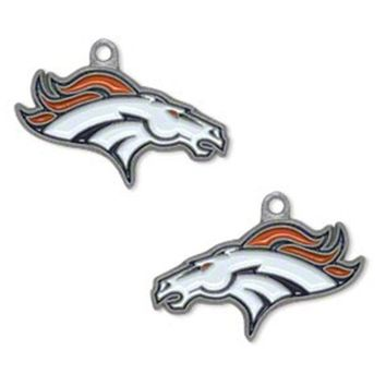 Zinc Alloy Enamel Football Team Denver Broncos Charms For DIY Bracelet & Necklace & Earrings & Pendant Jewelry 5pairs