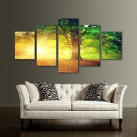 5 Panel Picture Golden Sunshine Forest Tree Canvas