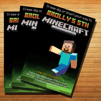 MineCraftInvitation Cards 4x6, 5x7, Customized