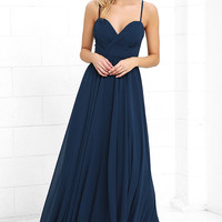 Nod and Wink Navy Blue Maxi Dress