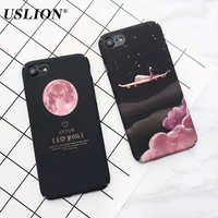 USLION Fashion Moon Night Sky Phone Case For iPhone 7 Hard PC Couples Full Protective Back Cover Cases For iPhone7 Plus