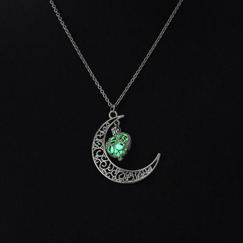 Green glow in the dark silver moon with heart necklace, key ring, or rear view mirror hanger