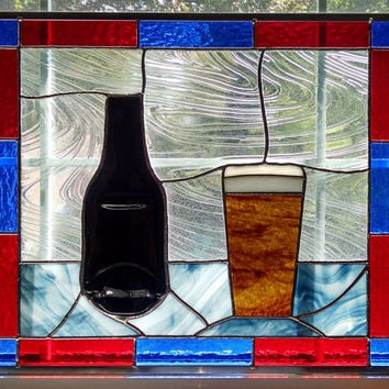 Beer Stained Glass Window Panel - Flattened Beer Bottle - Bar Decor - Beer Glass - Drinking Decoration - Man Cave Decor - Bar Art