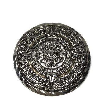 Old Eagle Mark Mayan Calendar Brooch Pendant Sterling Silver, Vintage Jewelry, Large Round Mexican Aztec Pin, Mens Medallion Necklace