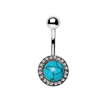 316L Stainless Steel Antique Jeweled Turquoise WildKlass Navel Ring