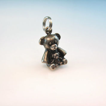 Teddy Bear Charm Sterling Silver Two Miniature Toy Bears Vintage Avon 1980s Jewelry Pendant