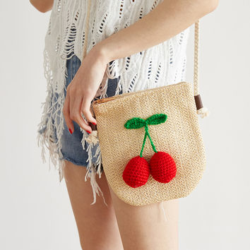 Menurra  Summer New Cherry Banana Straw Messenger Bags Woven Day Clutch Flap Bag Beach Package Crossbody Chain Bags
