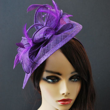 Purple Fascinator, Tea Party Hat, Church Hat, Kentucky Derby Hat, Fancy Hat, British Hat, Wedding Hat Plum Purple Fascinator, womens hat