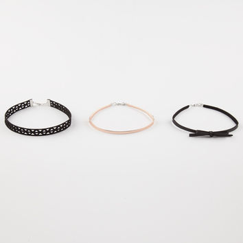 FULL TILT 3 Pack Bow/Lasercut Chokers | Necklaces