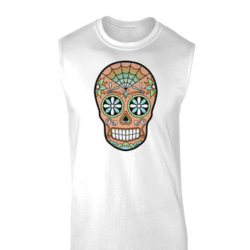 Version 6 Copper Patina Day of the Dead Calavera Muscle Shirt