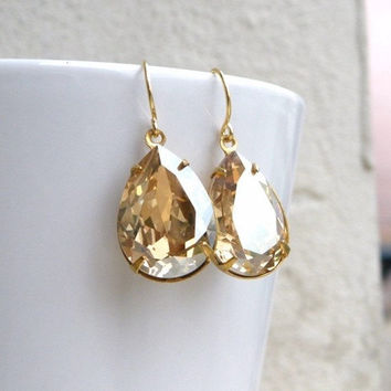 35% Off Sale Swarovski Earrings Champagne Golden Shadow Foiled Pear Stone Gold Filled