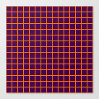 Orange On Purple Grid - Pattern Canvas Print by Moonshine Paradise
